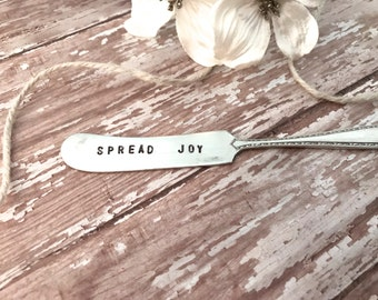 """Cheese knives, handstamped knives, """"Spread Joy"""" cheese spreaders, Holiday sayings, Neighbor gifts, Perfect for holiday parties,"""