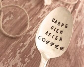 Stamped spoons, latte spoons, coffee spoon, stamped spoons, upcycled silverware stamped, stamped sayings spoons, latte lovers, coffee lover