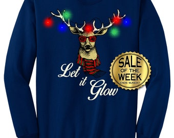 light up ugly christmas sweatshirt deer with christmas lights let it glow unisex black dark greennavyred kelly smlxl xxl 3xl