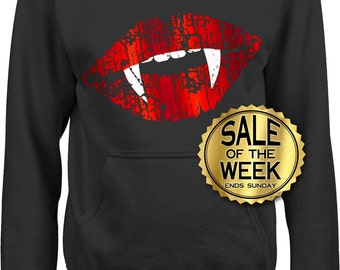 6b24c30c66453e LADIES HALLOWEEN SLOUCHY Sweatshirt With Pockets - Vampire Fangs - Foil Red  Lips - Printed in Eco Friendly Water Base inks - s - 3x