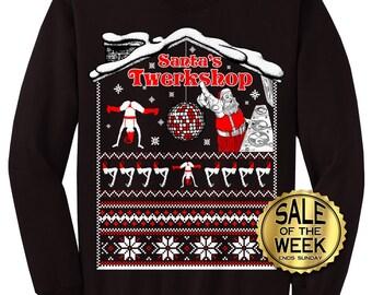 Ugly Christmas Sweater Santa S Twerkshop Tacky Etsy