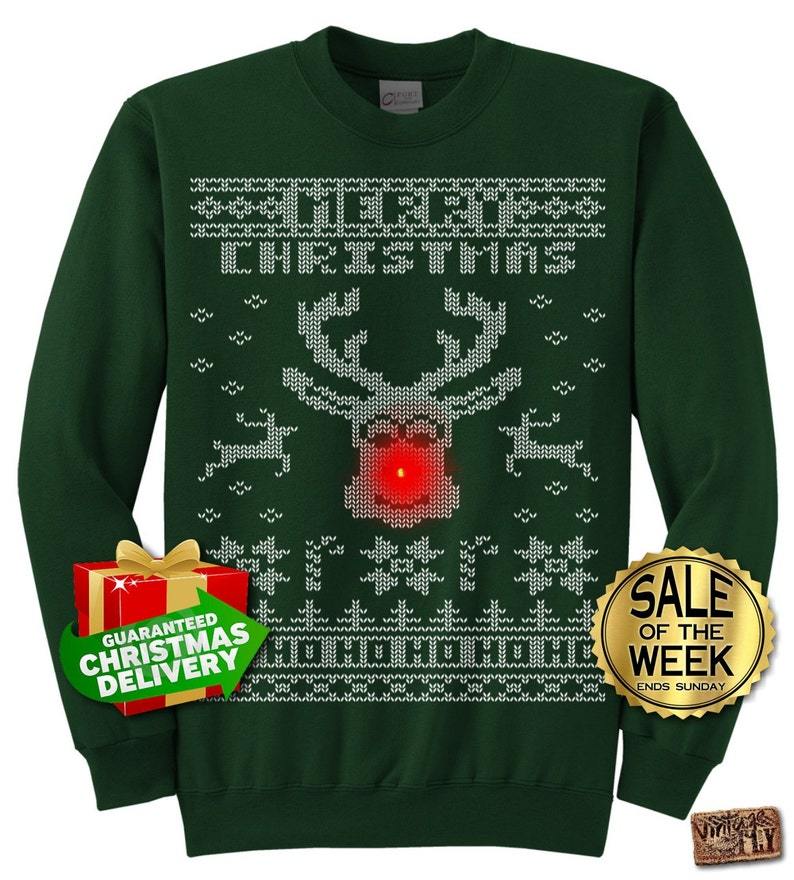 ce28bfb061f16 Rudolph LIGHT UP Ugly Christmas Sweater party