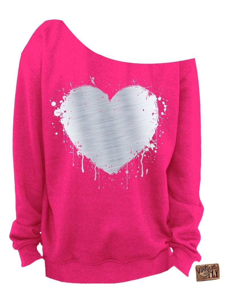 LADIES VALENTINE SWEATSHIRT Heart Foil Splatter Heart s-3x Silver Foil Imprint Slouchy Sweatshirt Grunge Off the shoulder