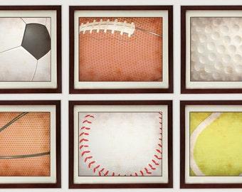 Vintage Style Sports Nursery Art Mix And Match Prints Baby Baseball  Basketball Football Soccer Ball Golf Tennis Kid Room Wall Decor