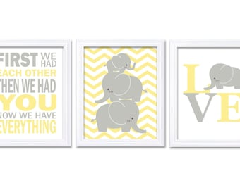 Elephant Nursery Wall Decor LOVE Set of 3 Prints Yellow Grey Nursery Art Chevron First We Had Each Other Child Kids Baby Jungle Safari