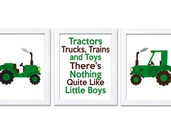 Nursery Art Tractors Trucks and Toys There's Nothing Quite Like Little Boys Print Set of 3 Green Brown White Baby Wall Decor Farm Chevron