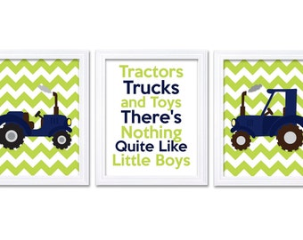 Nursery Art Tractors Trucks and Toys There's Nothing Quite Like Little Boys Print Set of 3 Navy Blue Lime Green Baby Wall Decor Farm Chevron