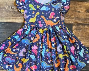 DINOSAUR Girls Dress Girls SKATER Dress Girls MAXI Dress Girls Dino Clothing Baby Girl Dress Older Girl Dress