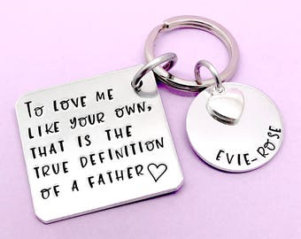 Step Dad Gift Father Keyring Personalised For Fathers Day Thank You Stamped Keychain