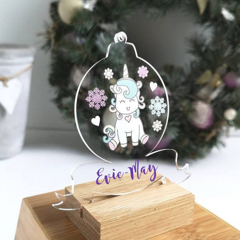 Kerstboomversieringen Feesten, speciale gelegenheden Christmas Unicorn Baubles Set of 3 In A Gift Box Handmade Xmas Tree Decorations
