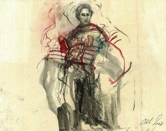 "Original drawing, ""Hommage à Matisse X"", mixed media on paper, 13x15"""