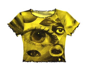 Eyes Mesh Crop Top Yellow