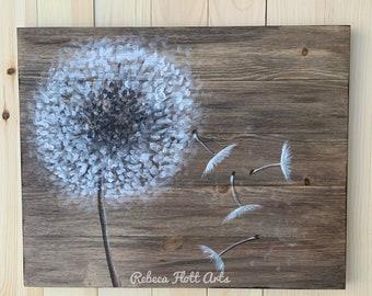 Dandelion on rustic wood,reclaimed wood,original handmade,