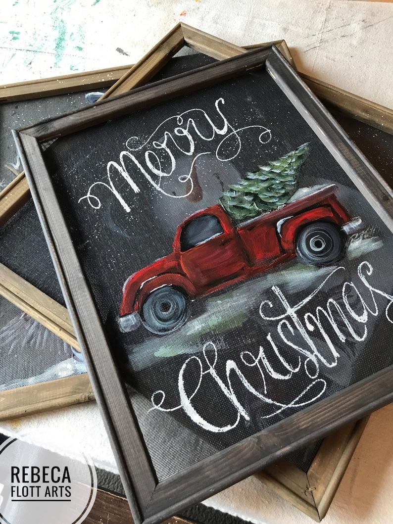 original handmade painting Merry Christmas from the christmas tree farm farmhouse rustic decor