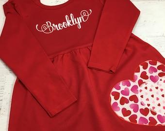 Valentine Dress for girls, Personalized Valentine's Day dress, Toddler Valentine, Girl's Valentine dress