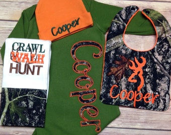 Baby Outfit - Baby boy coming home outfit deer - Camo Baby   - newborn boy coming home outfit _ Camo Baby Gown - Camouflage Outfit, Deer