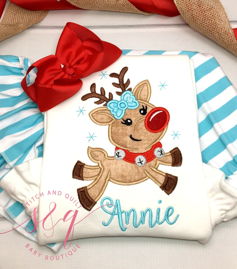 d0c2a55143915 Flying Reindeer Baby Girl Christmas Outfit Girl Toddler | Etsy