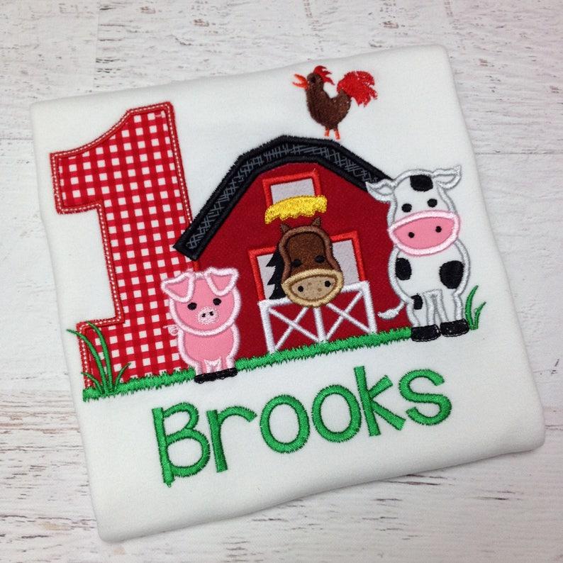 Barnyard Birthday Farm shirt with Farm Animals  Boy or Girl image 0