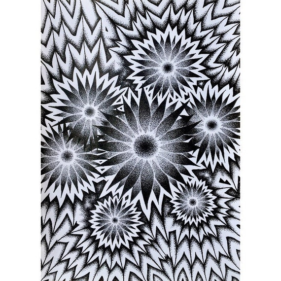 Field Of Flowers Original Black And White Sunflower Drawing Etsy