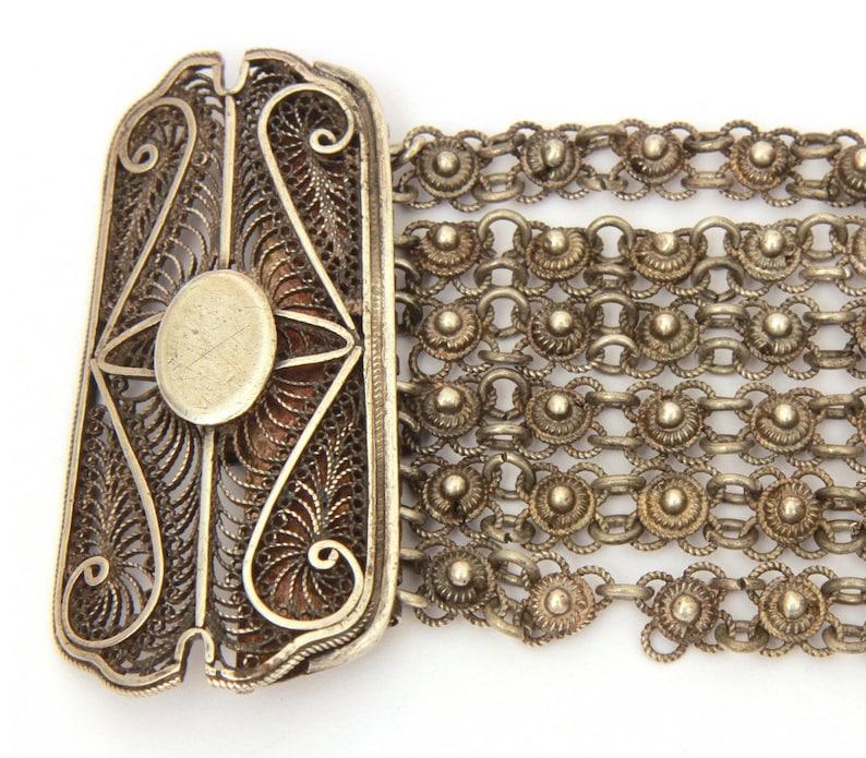 Vintage Ethnic Bracelet Tribal North Africa Jewelry Sterling Berber Bracelet Moroccan Berber Silver Filigree Bracelet Wide Filigree Clasp