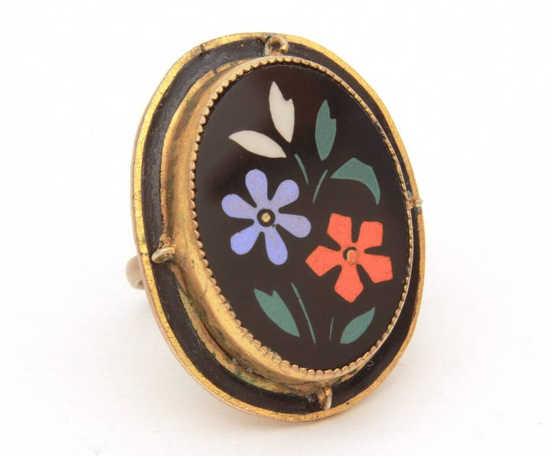 Victorian Mourning Ring Inlaid Glass Flower Ring Size 5 12 Antique Black Glass Ring Victorian Costume Jewelry Gilded Brass Ring Antique