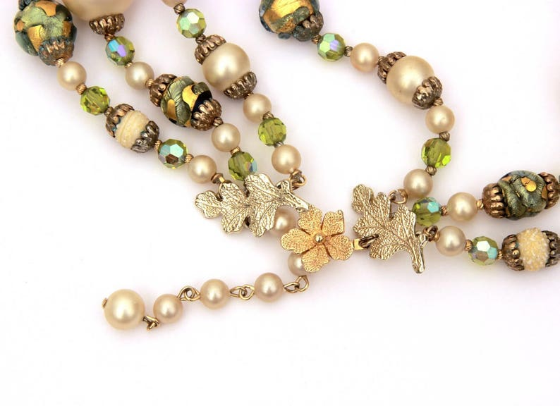 Green Art Glass Foiled Beads Vendome Necklace Earrings Clip On 3 Strand Necklace Rhinestones Mad Men Pearls Vintage Faceted Crystal Beads