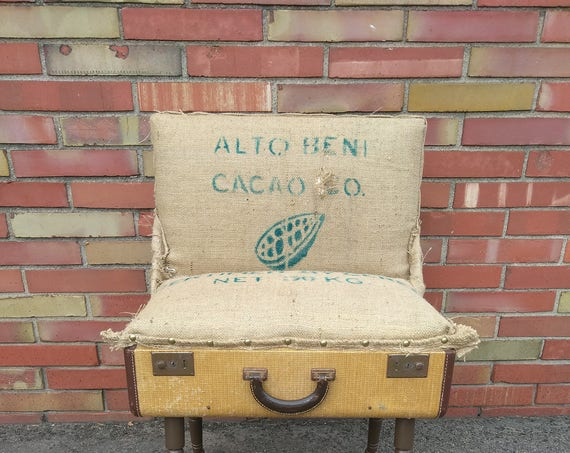 Upcycled Cocoa Bean Burlap Suitcase Chair