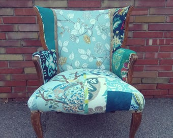 Accent Chair - Patchwork Chair - Unique Furniture - Upholstered Chair