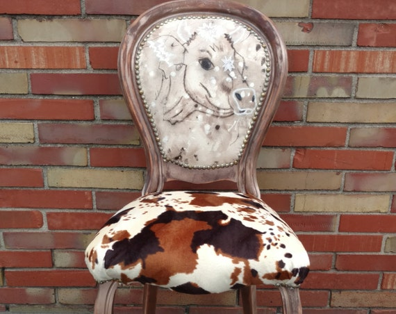Watercolor Painted Faux Fur Cow Accent Chair