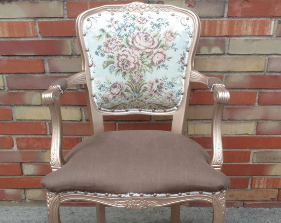 Rose Gold Needlepoint Accent Chair