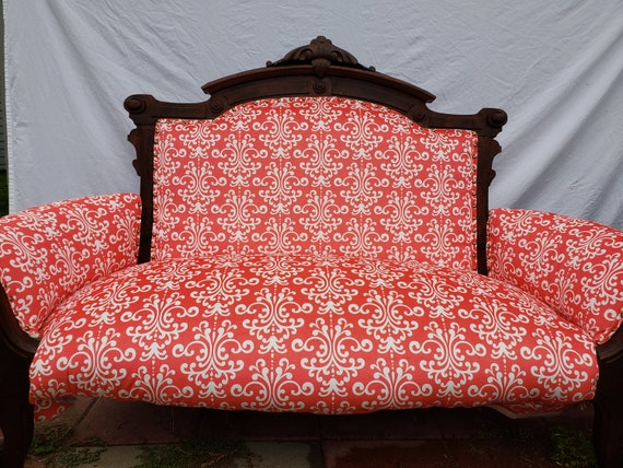 Custom Coral Damask Settee