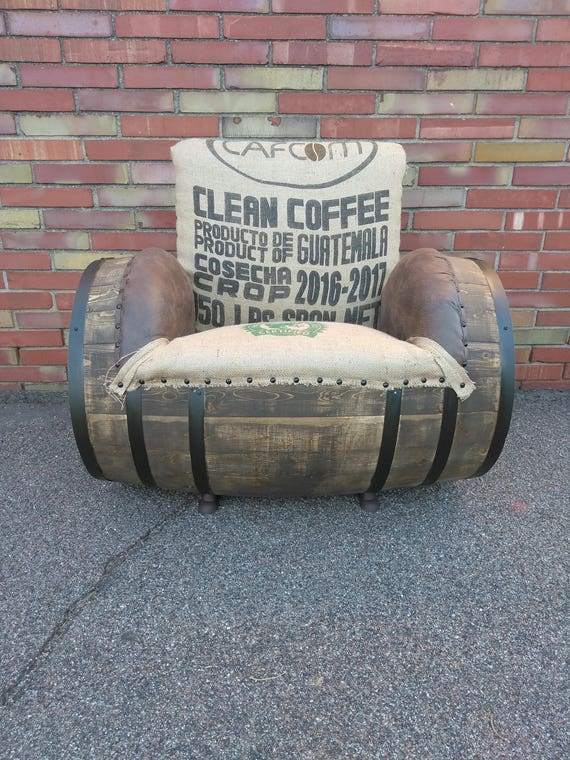 Burlap Barrel Chair