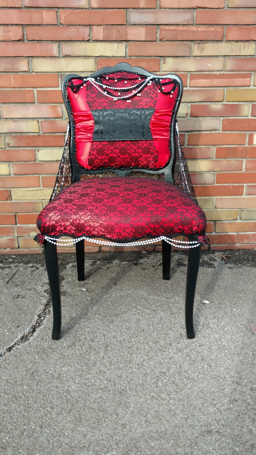 Ordinaire Accent Chair   Burlesque   Unique Furniture   Red And Black   Black Lace  Chair   Red Satin   Pearl And Lace Accent Chair