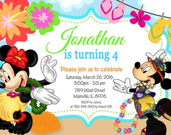Mickey Mouse Minnie Island Luau Birthday Party Invitation Digital Or Printed
