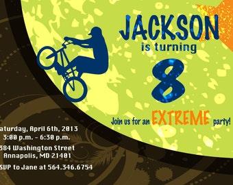 Extreme Bike BMX Dirt Birthday Party Invitation Digital Or Printed