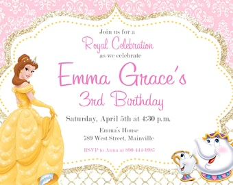 Belle invitation etsy beauty and the beast princess belle birthday party invitation digital or printed filmwisefo