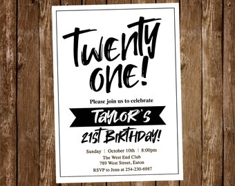 21st Birthday Invitation Twenty One Male Black And White Simple Modern Invite Digital Or Printed