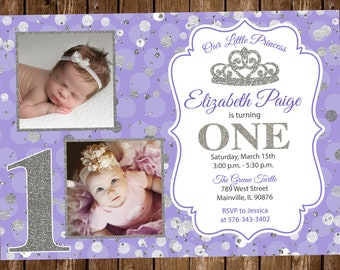 ANY AGE Princess Birthday Invitation Purple Silver Photo First One 1st Year Digital Or Printed