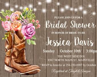 country western bridal shower invitation bridal shower country wood invitation rustic western boots cowgirl digital or printed