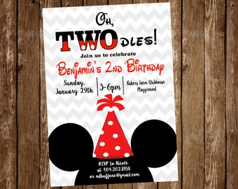 Mickey Mouse Birthday Party Invitation TWOdles 2nd Digital Or Printed