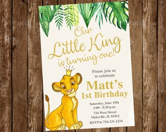 Lion king invitation etsy lion king birthday invitation lion king gold jungle boy king birthday first birthday one one year invitation digital or printed filmwisefo