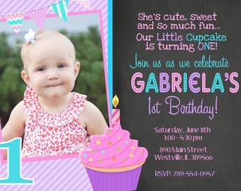 Cupcake invitation etsy cupcake birthday party cupcake invitation first birthday first birthday cupcake digital or printed filmwisefo