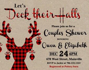 couples shower invitation christmas shower deck their halls shower bridal shower deer plaid wedding shower printable or printed