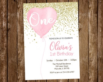 First Birthday Invitation Baby Girl Pink Gold Balloon Heart One Year 1st Invite ANY AGE Digital Or Printed