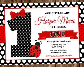 Ladybug first birthday invitations etsy ladybug birthday invitation ladybug birthday first birthday one year 1st little lady invitation party invite digital or printed filmwisefo