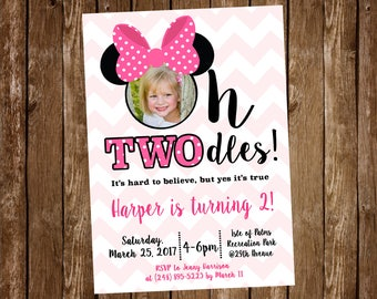 Mouse Birthday Party Invitation TWOdles 2nd Pink Digital Or Printed