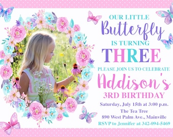 Butterfly Birthday Invitation Pink Teal Purple Party Digital Or Printed