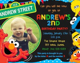 Sesame Street Birthday Party Invitation Girl Sesame Street Etsy