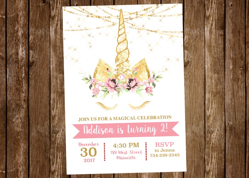 Unicorn Birthday Party Invitation Magical Gold Floral image 0