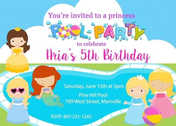 Princess Pool Party Birthday Invitation Swim Swimming Water